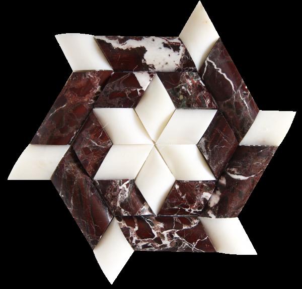 KR1359 Gece Mix Bordó márvány - fehér márvány