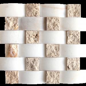 KR1437 Nicole White & Pinar Light 48 * 100mm fehér márvány - 48 * 48 mm light travertin Egységcsomagban 0,52 ㎡