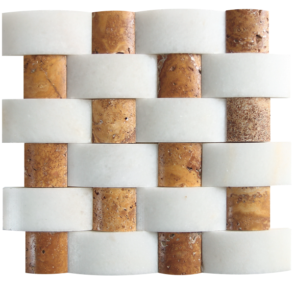 KR1443 Neval Mix 48 * 100mm Fehér márvány- 48 * 48mm Sárga Travertin Egységcsomagban 0,52 ㎡