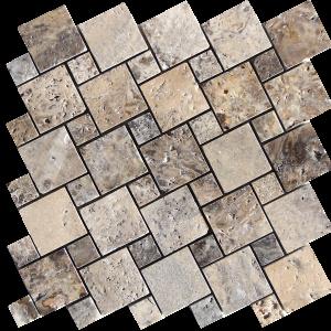 KR1415 Ses silver 2.3x2.3-4.8x4.8cm ezüst travertin mozaik Egységcsomagban 0,54 ㎡